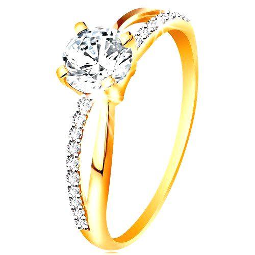Prsteň zo zlata 585 - prekrížené rozdvojené ramená