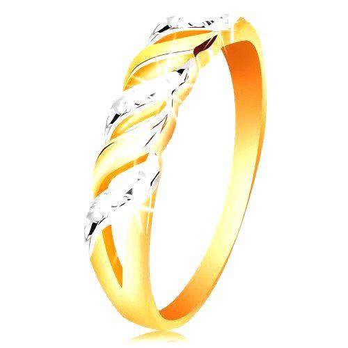Prsteň zo zlata 585 - vlnky z bieleho a žltého zlata