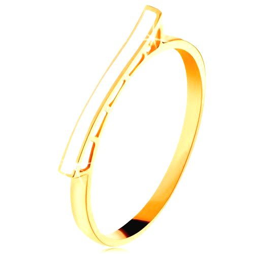 Prsteň zo žltého 14K zlata - biela glazúrovaná vlnka