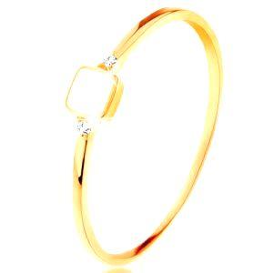 Prsteň zo žltého 14K zlata - biely glazúrovaný štvorček