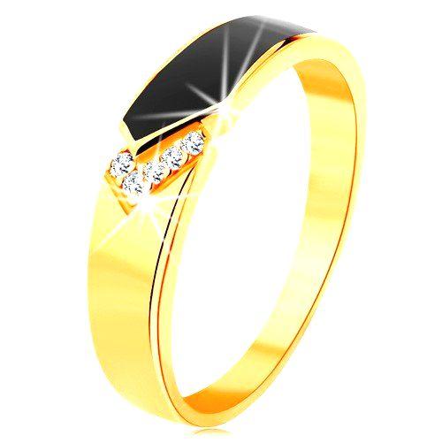 Prsteň zo žltého 14K zlata - čierny glazúrovaný pás so špicom