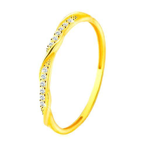 Prsteň zo žltého 14K zlata - číra zirkónová kontúra popretkávaná lesklou a hladkou líniou - Veľkosť: 59 mm