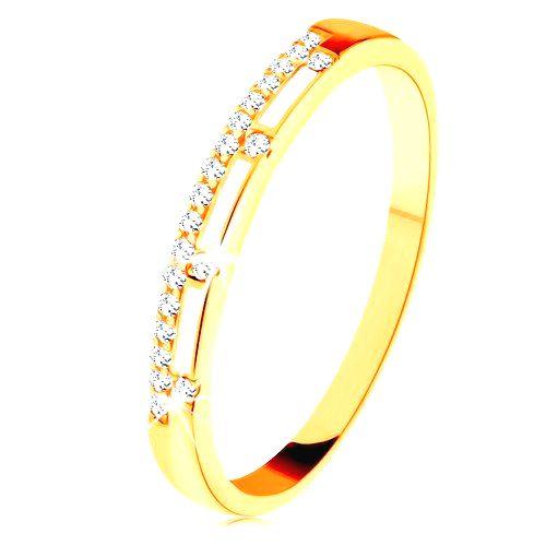 Prsteň zo žltého 14K zlata - číra zirkónová línia