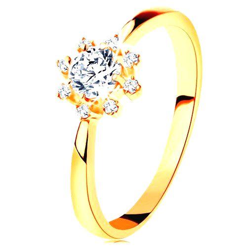 Prsteň zo žltého 14K zlata - číre ligotavé slniečko