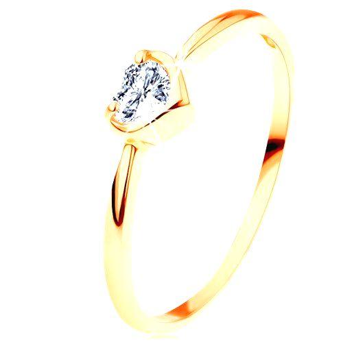 Prsteň zo žltého 14K zlata - číre zirkónové srdiečko s lesklým okrajom - Veľkosť: 65 mm