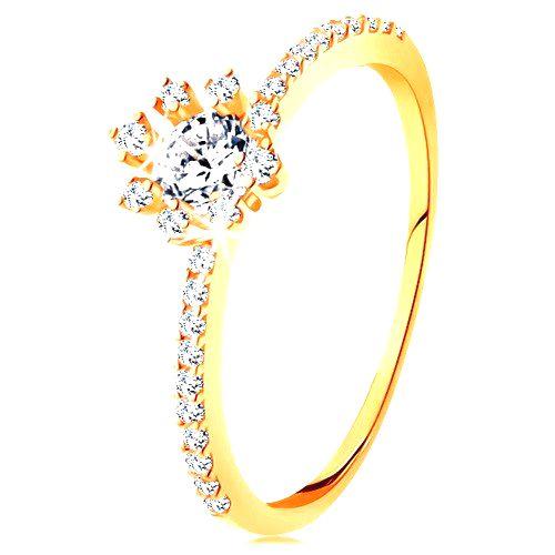 Prsteň zo žltého 14K zlata - číry ligotavý kvietok