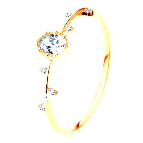 Prsteň zo žltého 14K zlata - číry ovál s vrúbkovaným okrajom