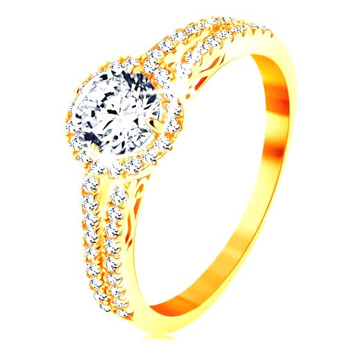 Prsteň zo žltého 14K zlata - číry zirkón s ligotavým lemom