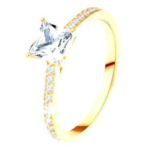 Prsteň zo žltého 14K zlata - číry zirkónový štvorec