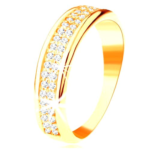 Prsteň zo žltého 14K zlata - dva rady čírych zirkónikov