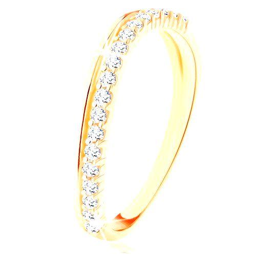 Prsteň zo žltého 14K zlata - hladká a číra zirkónová zvlnená línia - Veľkosť: 60 mm