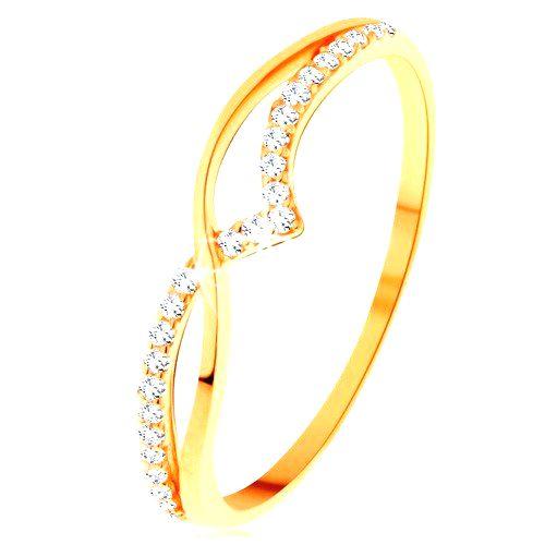 Prsteň zo žltého 14K zlata - hladká a trblietavá vlnka z čírych zirkónikov - Veľkosť: 65 mm