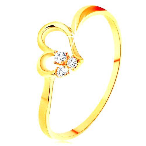 Prsteň zo žltého 14K zlata - kontúra nesúmerného srdiečka