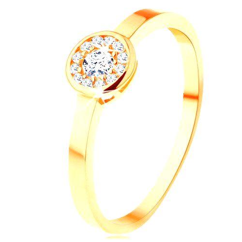 Prsteň zo žltého 14K zlata - kruh vykladaný čírymi zirkónmi