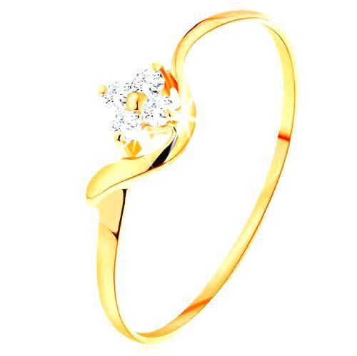 Prsteň zo žltého 14K zlata - kvietok z čírych diamantov
