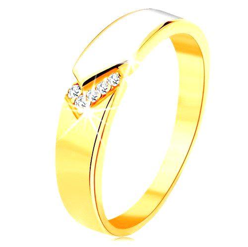 Prsteň zo žltého 14K zlata - lesklý pás bielej glazúry