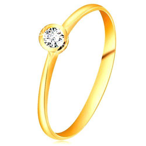 Prsteň zo žltého 14K zlata - ligotavý číry briliant v lesklej objímke