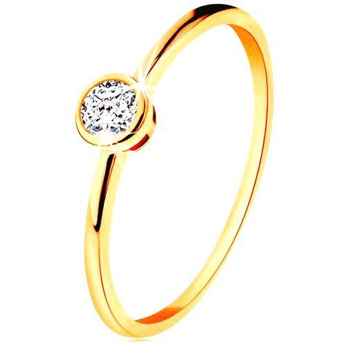 Prsteň zo žltého 14K zlata - ligotavý okrúhly zirkón v lesklej objímke - Veľkosť: 59 mm