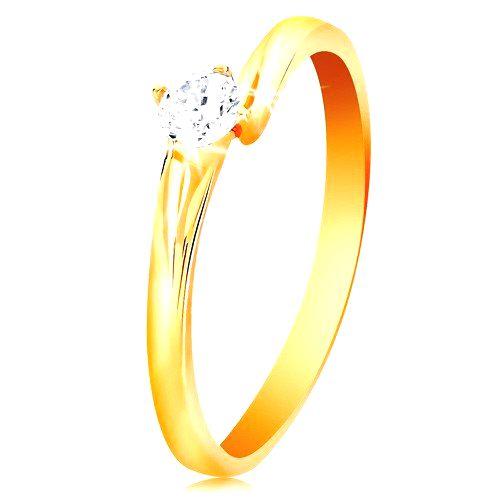 Prsteň zo žltého 14K zlata - ligotavý zirkón čírej farby v lesklom kotlíku - Veľkosť: 61 mm