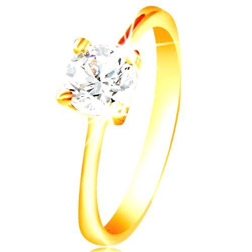 Prsteň zo žltého 14K zlata - ligotavý zirkón čírej farby vo vyvýšenom kotlíku - Veľkosť: 58 mm