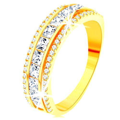 Prsteň zo žltého 14K zlata - línia čírych zirkónových štvorčekov