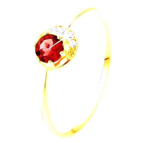Prsteň zo žltého 14K zlata - malý ligotavý polmesiačik