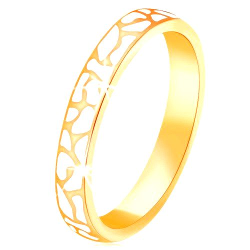 Prsteň zo žltého 14K zlata - nepravidelné škvrny z bielej glazúry - Veľkosť: 53 mm