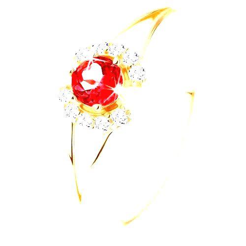 Prsteň zo žltého 14K zlata - okrúhly červený granát medzi čírymi oblúčikmi - Veľkosť: 59 mm