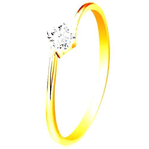 Prsteň zo žltého 14K zlata - okrúhly číry zirkón uchytený medzi koncami ramien - Veľkosť: 60 mm