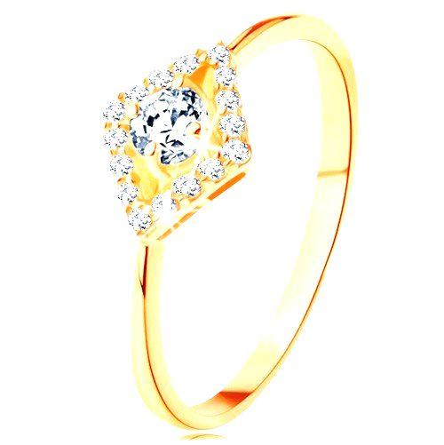 Prsteň zo žltého 14K zlata - okrúhly číry zirkón v ligotavom obryse kosoštvorca - Veľkosť: 59 mm