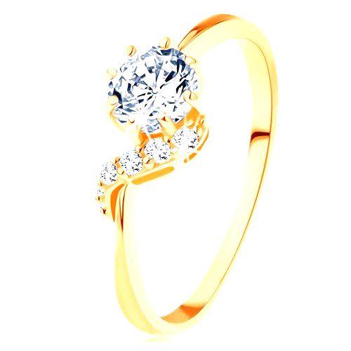 Prsteň zo žltého 14K zlata - okrúhly zirkón čírej farby