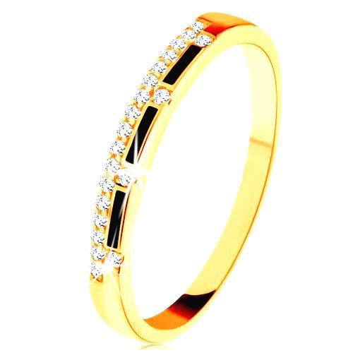 Prsteň zo žltého 14K zlata - pásy čiernej glazúry
