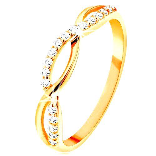 Prsteň zo žltého 14K zlata - prepletené vlnky - hladká a zirkónová - Veľkosť: 60 mm