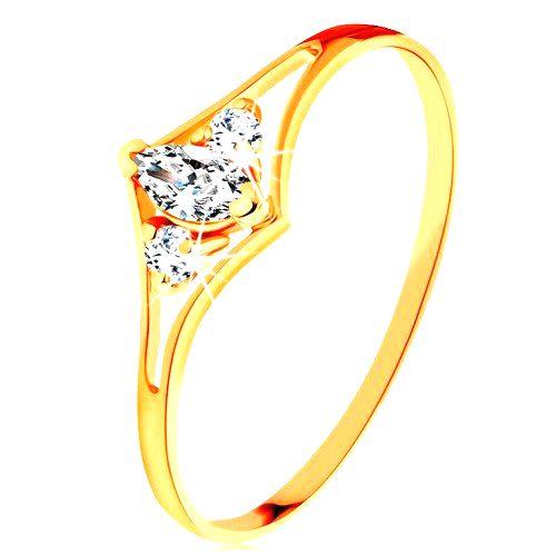 Prsteň zo žltého 14K zlata - rozdvojené ramená