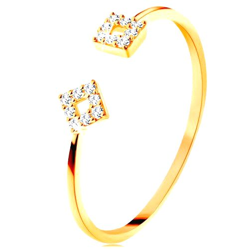 Prsteň zo žltého 14K zlata s oddelenými ramenami