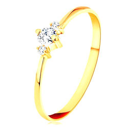 Prsteň zo žltého 14K zlata so zúženými ramenami