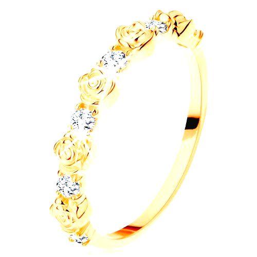 Prsteň zo žltého 14K zlata - striedajúce sa ružičky a okrúhle číre zirkóny - Veľkosť: 60 mm