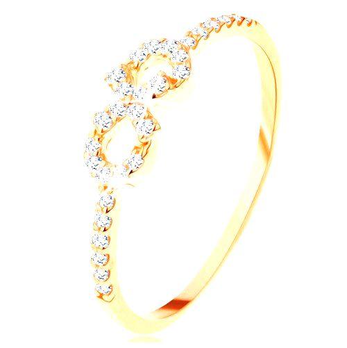 Prsteň zo žltého 14K zlata - symbol nekonečna zdobený čírymi zirkónikmi - Veľkosť: 65 mm