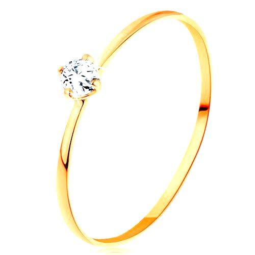 Prsteň zo žltého 14K zlata - tenké ramená