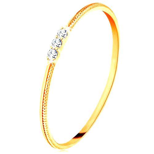 Prsteň zo žltého 14K zlata - tenké ramená s vrúbkami