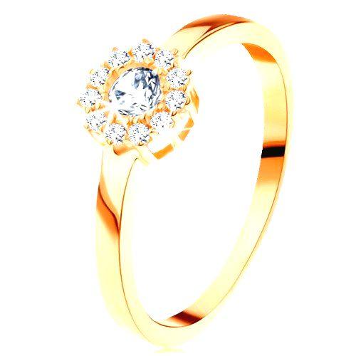 Prsteň zo žltého 14K zlata - trblietavý kvet z okrúhlych čírych zirkónov - Veľkosť: 65 mm