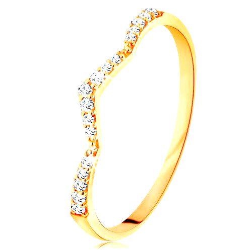 Prsteň zo žltého 14K zlata - trblietavý pás