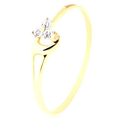 Prsteň zo žltého 14K zlata - tri diamanty v jemnom ružovom odtieni