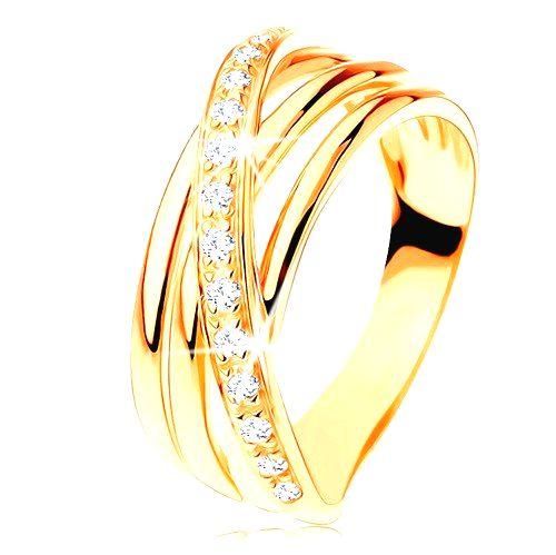 Prsteň zo žltého 14K zlata - tri hladké pásy