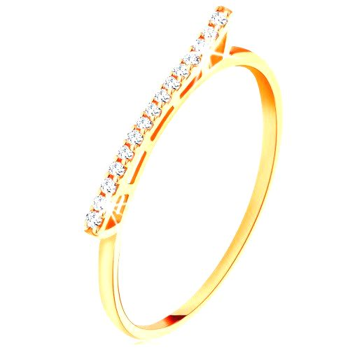 Prsteň zo žltého 14K zlata - vyvýšená trblietavá vlnka  so zirkónikmi - Veľkosť: 59 mm