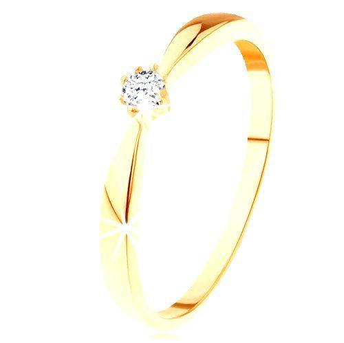 Prsteň zo žltého 14K zlata - zaoblené ramená