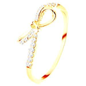 Prsteň zo žltého 14K zlata - zirkónmi zdobená mašlička