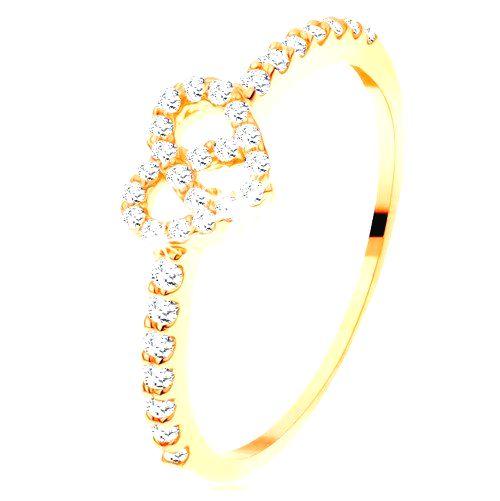 Prsteň zo žltého 14K zlata - zirkónové ramená