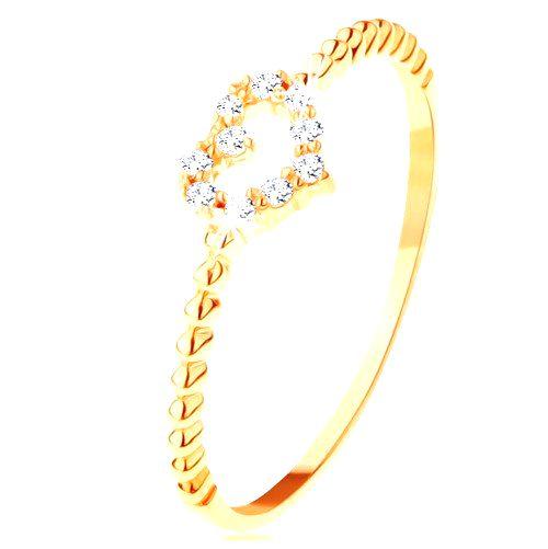 Prsteň zo žltého 14K zlata - zirkónový obrys srdiečka