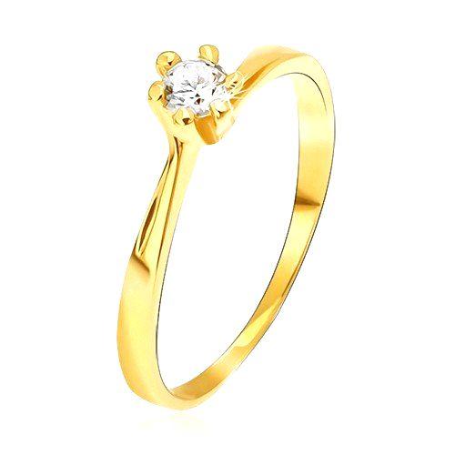 Prsteň zo žltého 14K zlata - zúžené ramená pri kotlíku